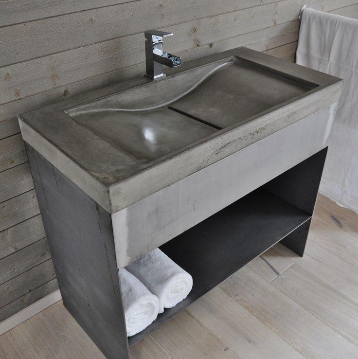 Svenskbetongdesign.se  Tvättställ i betong med kommod i smide