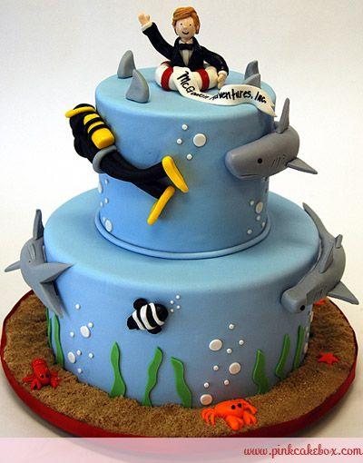 Shark and Scuba Themed Cake