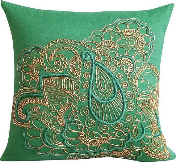 Designer Teal Green Pillows Cover 16x16 Cotton