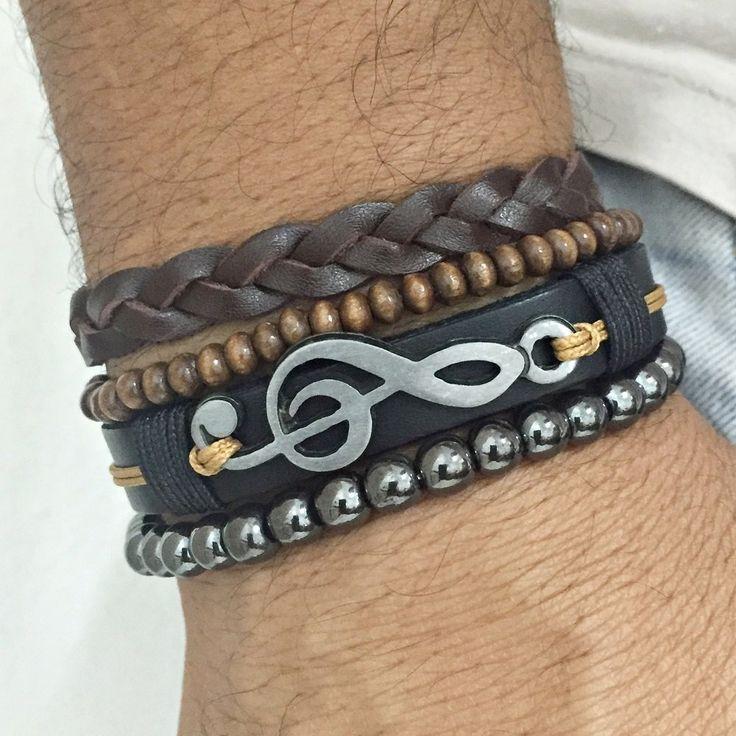Kit 4 Pulseiras Masculinas Couro Clave Do Sol Hematita mens bracelets fashion style cocar brasil