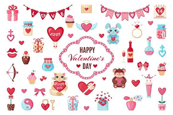 Set of Valentine's Day elements by romawka on @creativemarket