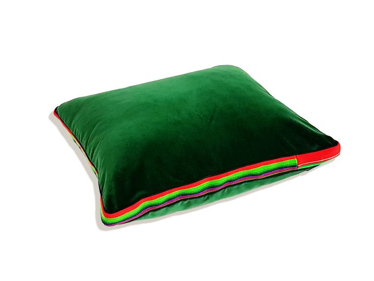 Deep Green velvet pillow with addition of regional hand woven fabric by Folka