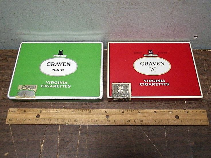 2 Different Flat 50 Cigarette Tins Craven A Made in Canada & Carreras England