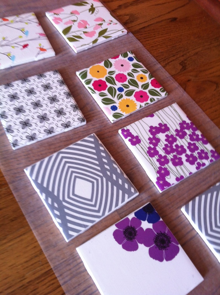 DIY Night Tile Coasters with Scrapbook Paper Coaster