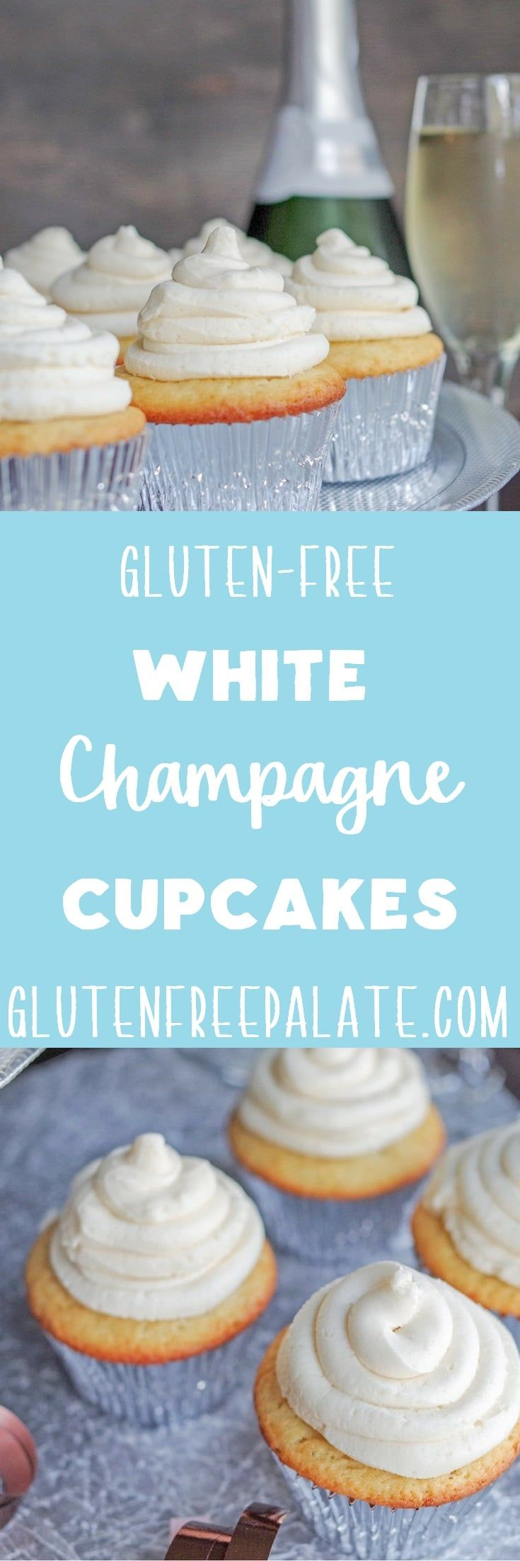 Gluten-Free White Champagne Cupcakes are perfect for celebrating weddings, birthdays, and New Year's! via @gfpalate