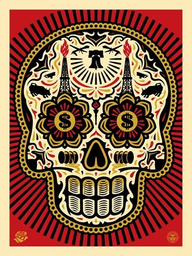 Power & Glory Day Of The Dead Skull (Large Format) by Shepard Fairey   Ernesto Yerena