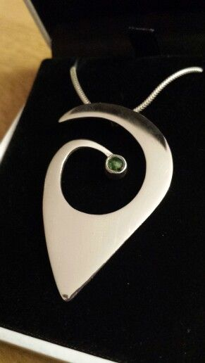 Silver and green tourmaline pendant