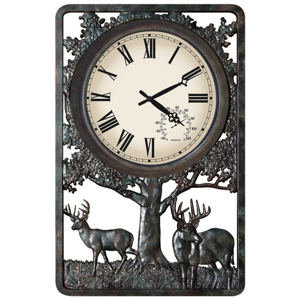 Deer Outdoor Wall Clock Thermometer For Dad
