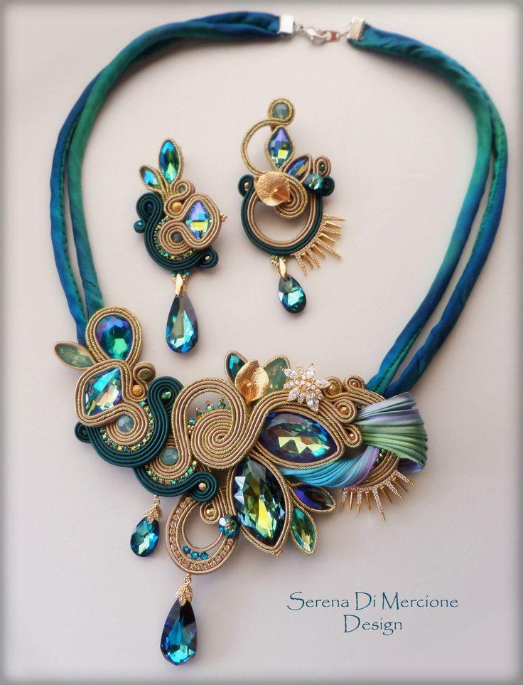 Silk and soutache parure with Swarovski elements - by Serena Di Mercione