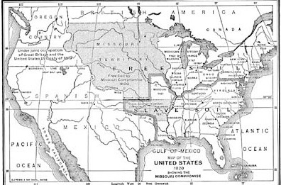 map illustrating the missouri compromise of 1820 under terms hammered out by congress missouri. Black Bedroom Furniture Sets. Home Design Ideas