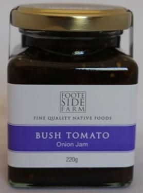 Footeside Farm Native Bush Tomato & Onion Jam (220ml) Ingredients: - onions, sugar, balsamic vinegar, native whole & ground bush tomatoes, native thyme  A sweet spicy jam that works well as an accompaniment to meats and quiches - great with sandwiches, rolls and wraps Try with hot dogs and hamburgers $12.00