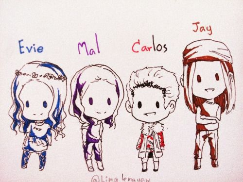 descendants, mal, evie, jay, carlos, movie, disney