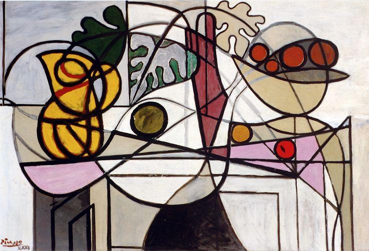 Cruche et coupe de fruits et feuilles Picasso