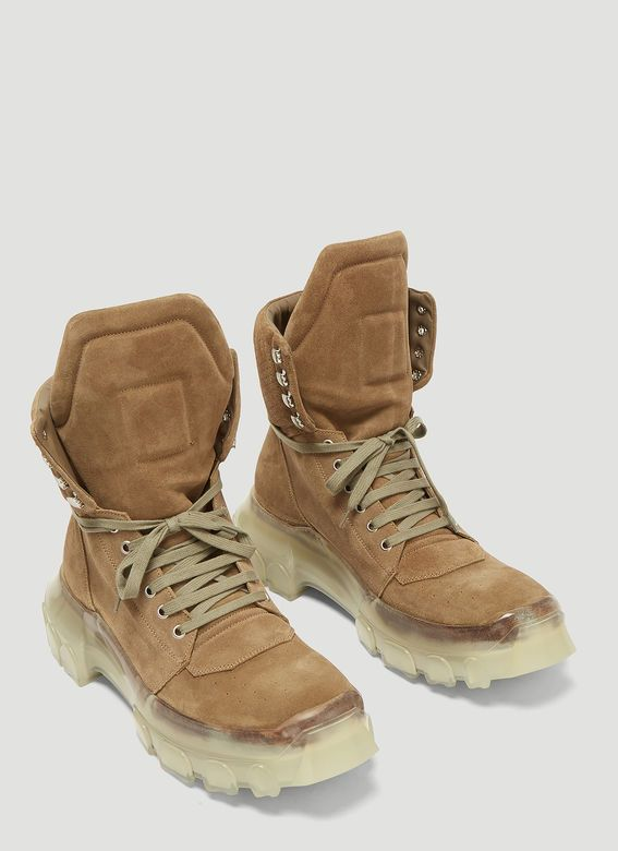 f213db526372 Rick Owens Tractor Dunk Boots in Green