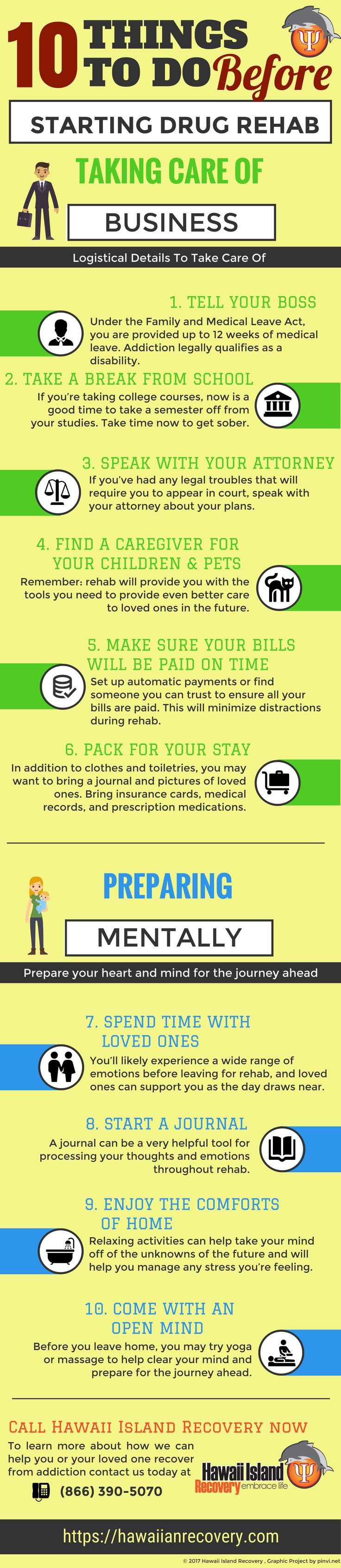 Entering Rehab? Check out these ten ways you can both take care of business and prepare your heart and mind for the journey ahead. #addiction #recovery #hawaii