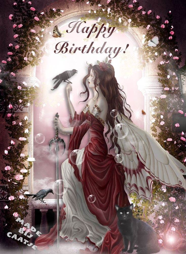 Happy Birthday! Fairy with cat and crows