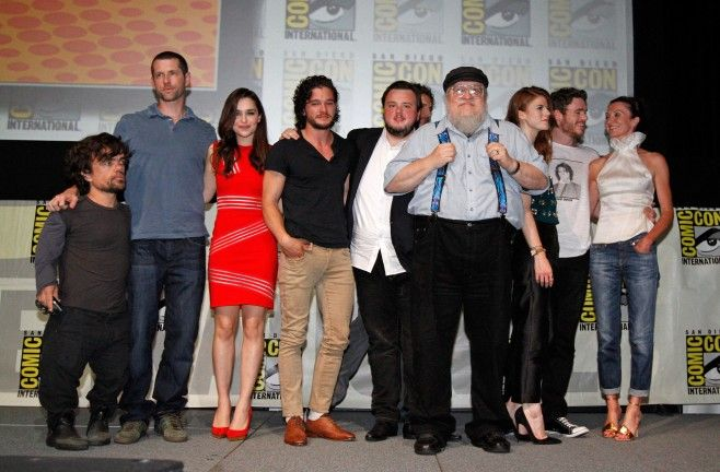 """Comic-Con 2013: Game of Thrones Panel Actor Peter Dinklage, writer/producer D.B. Weiss, actors Emilia Clarke, Kit Harington, John Bradley, Jason Momoa, author/executive producer George R.R. Martin, actors Rose Leslie, Richard Madden and Michelle Fairley pose at HBO's """"Game Of Thrones"""" panel at San Diego"""