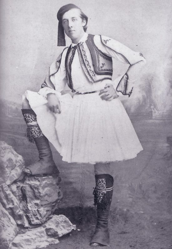 1877: Oscar Wilde in Greek National Costume  GREECE by OSCAR WILDE  ....... I stood upon the soil of Greece at last!