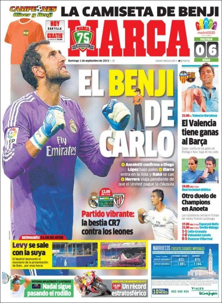 Los Titulares y Portadas de Noticias Destacadas Españolas del 1 de Septiembre de 2013 del Diario Deportivo MARCA ¿Que le pareció esta Portada de este Diario Español?