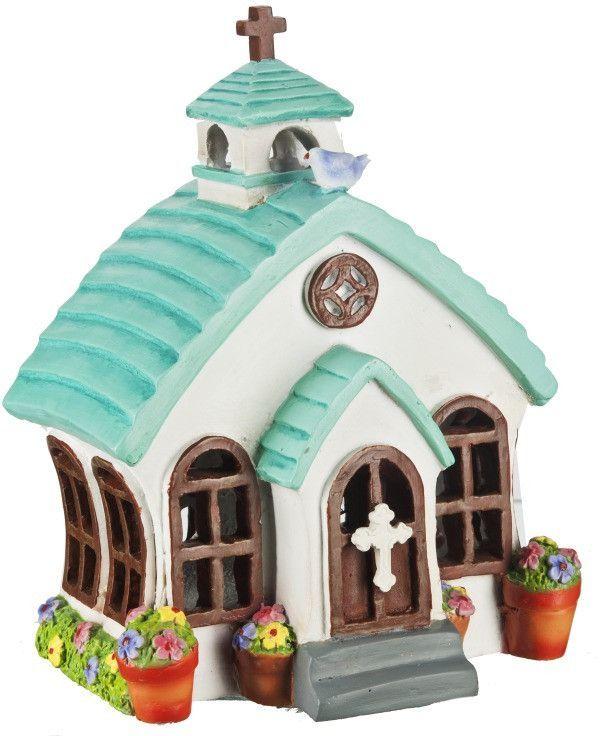Ganz Mini Chapel Church LED House for Fairy Garden ~ Lights Up ~ Polystone