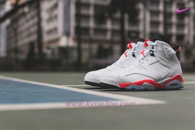 scarpe da basket 384664-123 AIR JORDAN 6 RETRO Bianco/Rosso InfraRosso