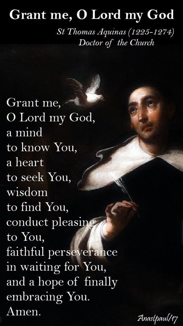 Our Morning Offering – 14 November  Grant me, O Lord my God St Thomas Aquinas (1225-1274) Doctor of the Church  Grant me, O Lord my God, a mind to know You, a heart to seek You, wisdom to find You, conduct pleasing to You, faithful perseverance in waiting for You, and a hope of finally embracing You. Amen.#mypic