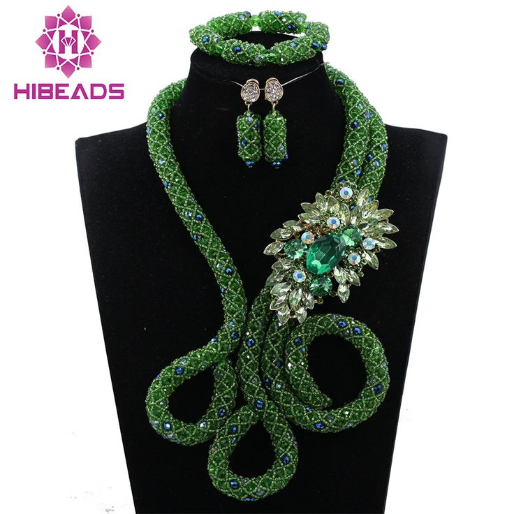 Fashion Twisted Crystal Braid Necklace Set Wedding Nigerian Beads Bib African Jewelry Set Free Shipping WD579