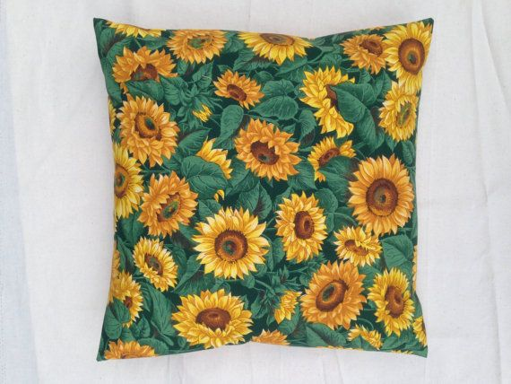 Cushion cover in vibrant sunflower prints handmade by RhapsodyInc