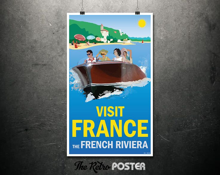 Visit France - The French Riviera - Travel Poster, Travel Print, Travel Gift, Boating, Wanderlust, Seaside Prints, Summer Art, Beach Art by TheRetroPoster on Etsy