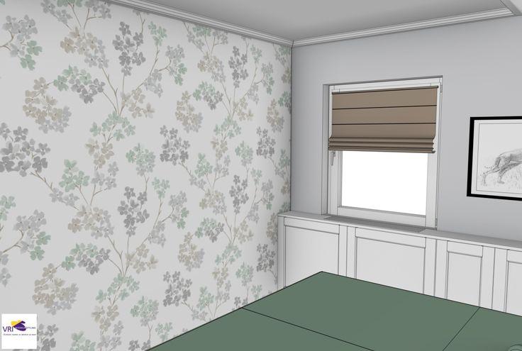 Slaapkamer in 3D   ontwerp: Monique van Koppenhagen   kleuren: vliesbehang 2258-51 Bloesem Soft Green van Karwei, RAL 9001 crème wit en RAL 7035 lichtgrijs #styling #interieurstyling #interieur #interieurbouw #slaapkamer #Karwei #behang #3D #maatwerk #romantisch #groen #lichtgrijs #cremewit