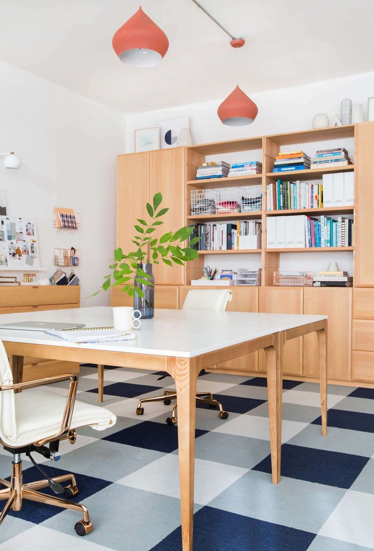 home office home office makeover emily. gorgeous organized office workspace with light wood furniture and plaid floor home makeover emily