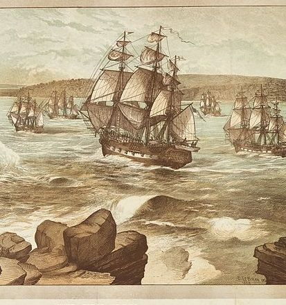 The First Fleet entering Port Jackson on the 26th of January, 1788. Drawn 1888.
