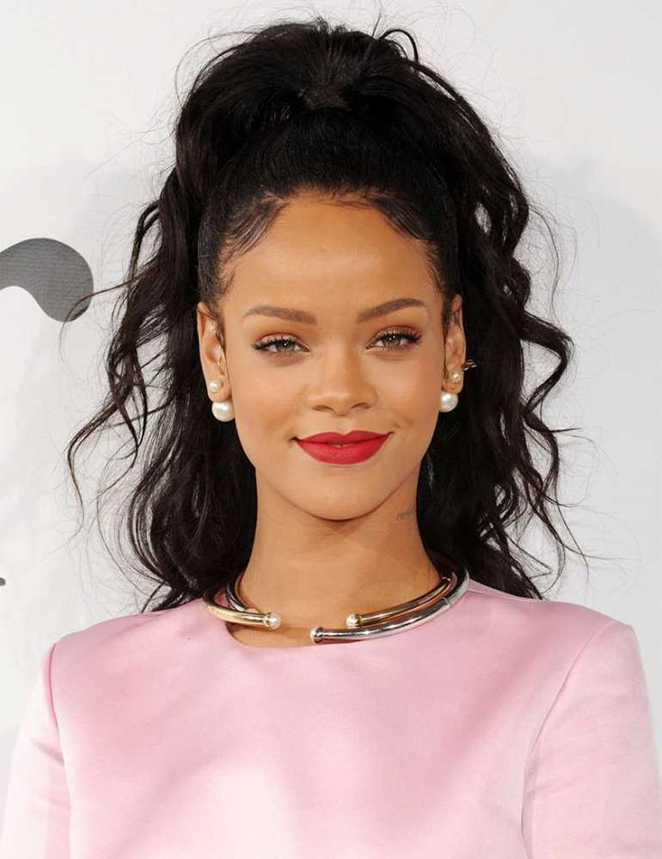 High PonyTail, red lips- Rihanna