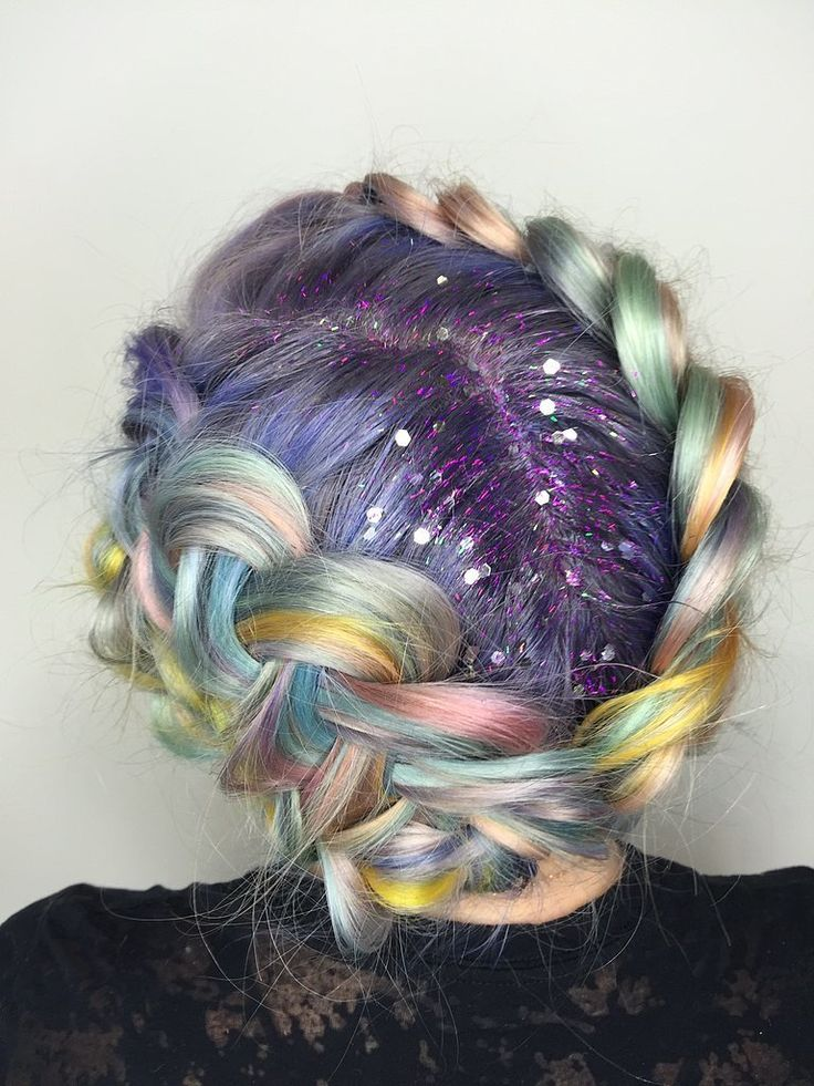 Macaron hair, braids, and glitter roots!? Yes PLEASE!: