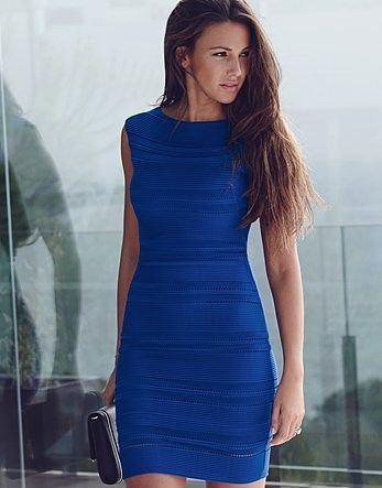 Womens electric blue michelle keegan ripple detail bodycon dress from Lipsy - £50 at ClothingByColour.com