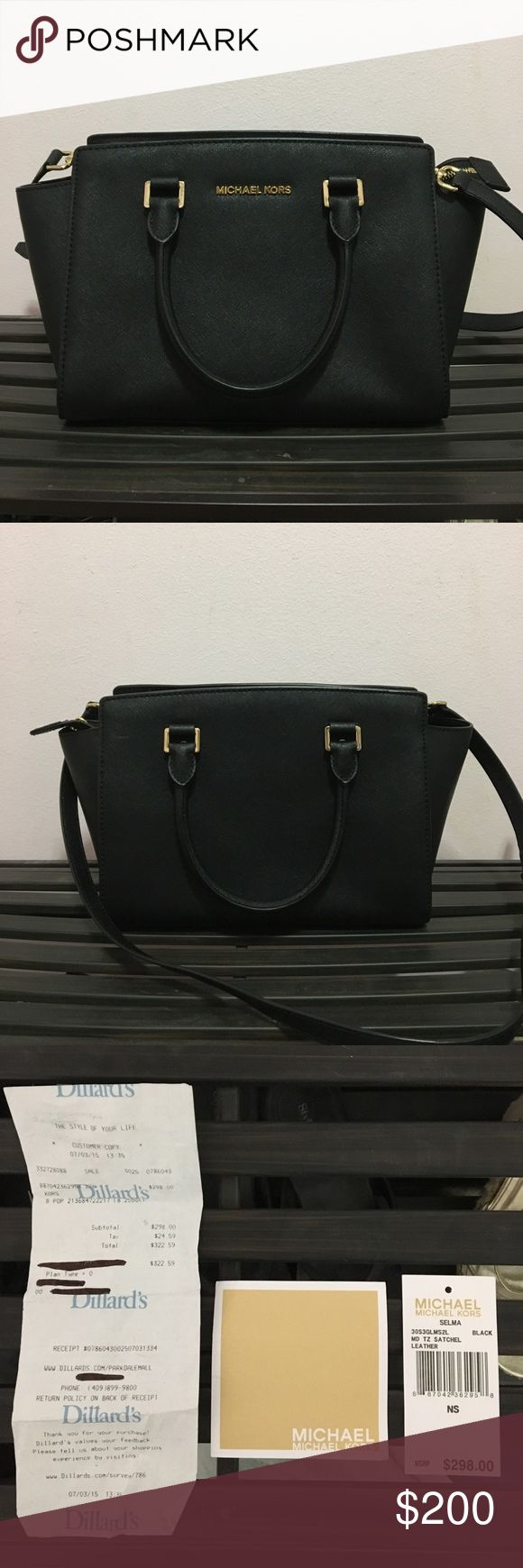 NWT Medium Michael Kors Selma great condition, only used a handful of times. re-poshing because i just don't use it enough. black bag with gold hardware. very minimal signs of wear. there are some scratches on the feet & a couple scratches on the back like the one shown in the third picture. comes with dust bag & the original receipt & tags. long shoulder strap is included. 100% authentic. Michael Kors Bags