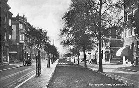 Avenue Concordia - 1932. Is in 1883 aangelegd op het grondgebied van de toenmalige gemeente Kralingen, weinig later gevolgd door de parallel lopende Avenue Prins Alexander (thans de Voorschoterlaan). De nieuwe avenues moesten waardige buren zijn van de eeuwenoude Hoflaan, waarvan de naam refereert aan het Slot Honingen dat er tot in de 17e eeuw had gestaan.