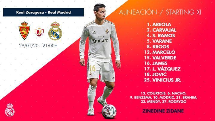 Starting Line Up Real Madrid Vs Real Zaragoza Copa Del Rey Real Zaragoza Zaragoza Real Madrid Castilla