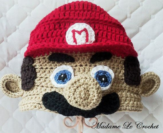 Plumber with Red Hat Crochet Beanie Hat with Earflaps