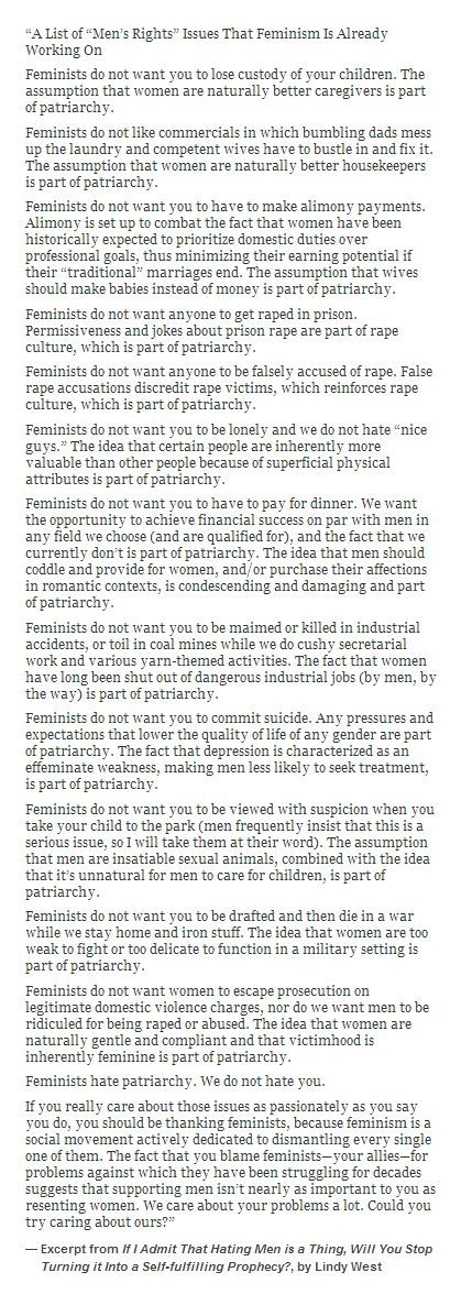 """A List of ""Men's Rights"" Issues That Feminism Is Already Working On"