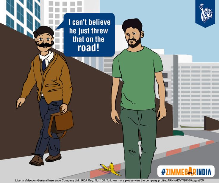The businessman stops the passer-by, asking him to throw the peel in a bin. #ZimmedarIndia