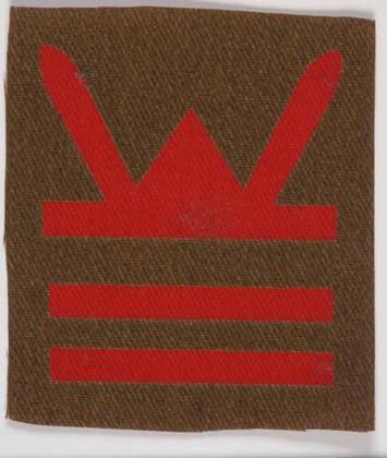 Printed Badge of 158th Brigade within 53rd (Welsh) Division. The seniority bars below the Divisional sign indicate which Brigade this is. [IWM INS5444]