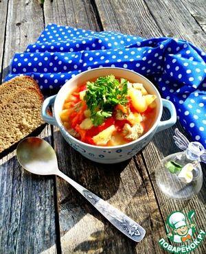 Нежный суп-гуляш из куриного филе