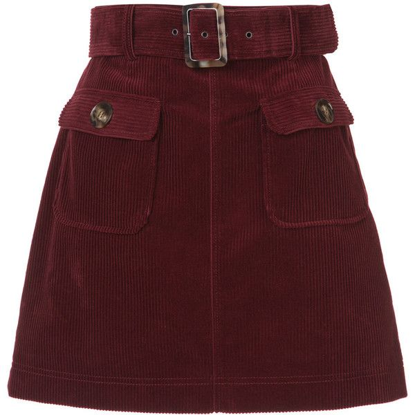 ALEXACHUNG A-line corduroy skirt ❤ liked on Polyvore featuring skirts, red corduroy skirt, short skirts, corduroy a line skirt, alexachung and a-line skirts