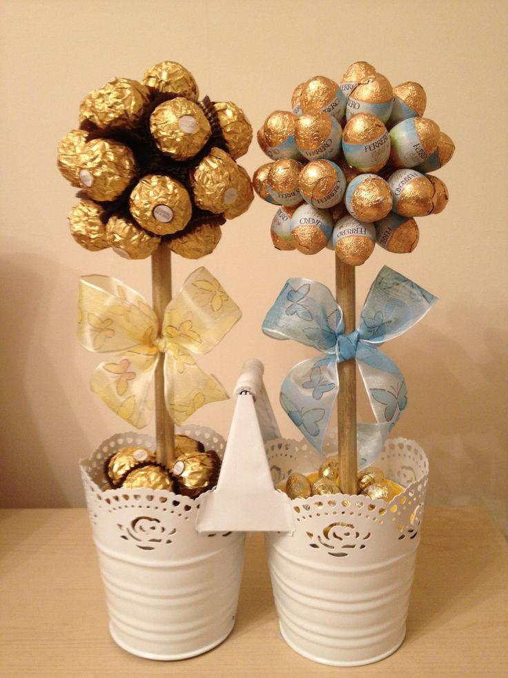 Luxury White Vintage Metal Twin Planter (reusable) Ferrero Rocher and Mini Ferrero Eggs Sweet Trees