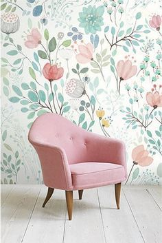 4 Colors -- Watercolor Blossoms Wallpaper Fresh Spring Flower & Leaves Wall Mural Art Bedroom Pink Blue Green White Large Print