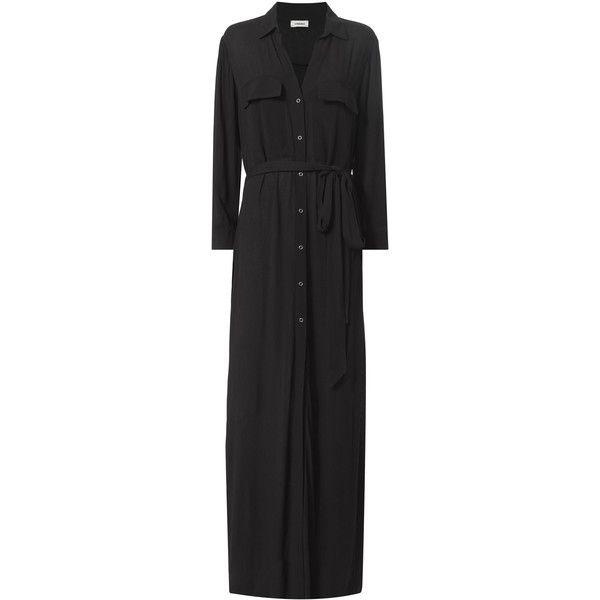 Black Maxi Shirtdress (4.264.000 IDR) ❤ liked on Polyvore featuring dresses, black, maxi dress, maxi shirt dress, waist belt, long sleeve shirt dress and snap dress