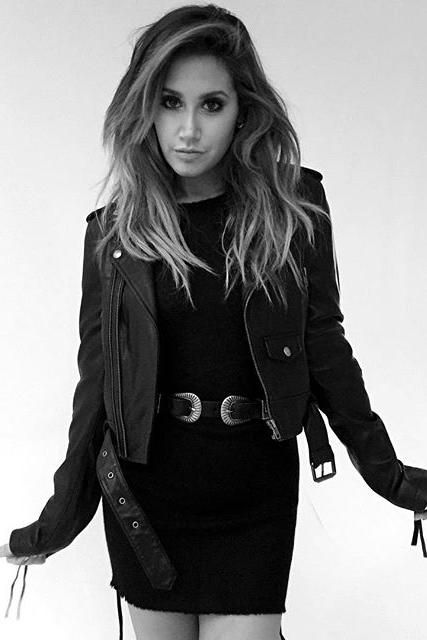 Ashley Tisdale wearing Linea Pelle Double Buckle Belt and Linea Pelle Moto Jacket
