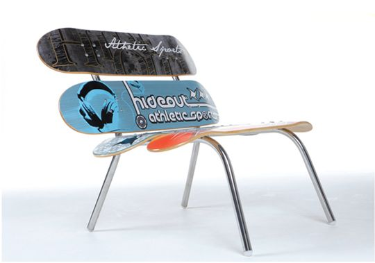 Skateboard Chair For Sale By Doizdesign.  Check out this skateboard chair for sale by Doizdesign which would look great in any bachelor pad, college dorm etc. The Doizdesign skateboard chair for sale can be customized by you with a selection of different boards.