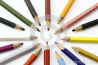 Multicolor crayons on white background